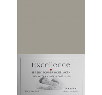 Excellence Jersey Topper Hoeslaken - Tweepersoons - 160x200/210 cm - Taupe